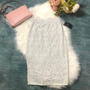 NWT Zara White Lace Midi Pencil Skirt Size M